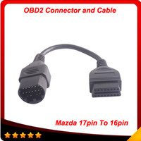 Wholesale Obd2 16 Pin Male - For MAZDA 17 Pin 17Pin Male to OBD OBD2 OBDII DLC 16 Pin 16Pin Female Car Diagnostic Tool adapter 2014 hot selling
