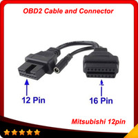 Wholesale Obd Adapter Connector - Mitsubishi 12 Pin To 16 Pin Female OBD 2 Extension Diagnostic Tool Adapter Connector Cable 2014 Top selling