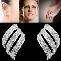 Wholesale Ear Cuff Earrings Gems - 24Pcs Lot Fashion Silver Earring Rhinestone Crystal Earrings Ear Stud Cuff Gem Wedding Jewellery Party 2015 Free [JE06238*12]