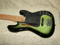 Wholesale Green Electric Bass Guitar - Green Bass Guitar 5 Strings Beauty Electric Bass Promotion Free Shipping HOT