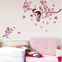 Wholesale Wall Decals Baby Girl - Cute Monkey And Pink Flower Blossom Tree Wall Art Decor Decal Baby Girls Room Nursery Kids Children Bedroom Removable Wall Sticker
