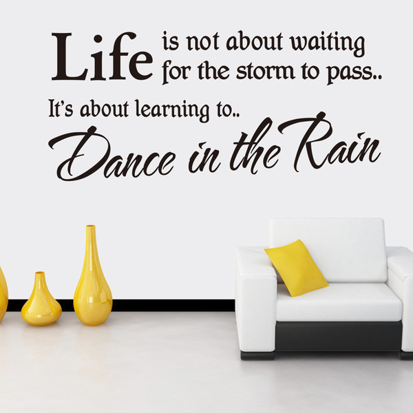 Free Shipping Life Is Dance in the Rain Wall Stickers Vinyl Quotes Wall Decals Wall Art Stickers Murals Decoration