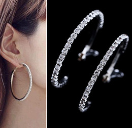 Wholesale Wife Quality - High Quality Hot Basketball Wives Hoop Earrings Silver Polish 1 Row 30mm Crystals Free Shipping [JE06240*12]