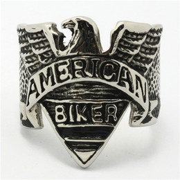 Wholesale Mens Biker Style Ring - Free Shipping America&Europe Style Mens 316L Stainless Steel Cool Eagle American Biker Classic Silver Ring Flying Eagle Rings