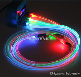 Wholesale Led Usb Smile Charger Cord - LED Visible ROUND Micro USB V8 V9 Charger Cable 1M for Samsung S3 S4 s5 Smile Light Up Flashing Rubber Cord for Note 3