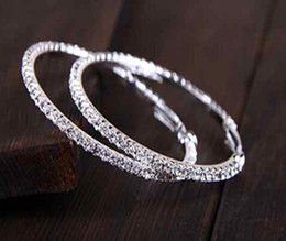 Wholesale Hoop Basketball Wives Wholesale - 48Pcs Lot Cheap Price Wholesale Big Circle Silver Plated Earrings With Bling Rhinestone Basketball Wives Hoop Earrings [JE06240*24]