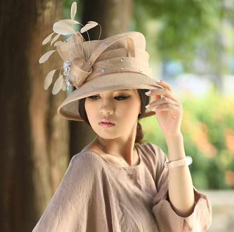 b4387cdfe63 Hot Sale Fashion Women And New Elegant 2015 Hat Sinamay Hat Women Dress  Church Hat Handmade Ladies  Fabric Stones Feathers Crazy Hats Fishing Hat  From ...