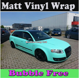 Wrap car pvc film online shopping - Premium Matt Tiffany Blue Vinyl Car Wrapping Film With Air Bubble Free Mint Matte Film Wrap covers foil x30m Roll x98ft