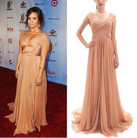 Wholesale Demi Lovato Red Carpet Dresses - Demi Lovato 2014 ALMA Awards Champagne Formal Evening Gown Red Carpet Celebrity Dresses Off Shoulder and V Neck Chiffon 312