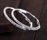 Wholesale Diamante Round - Brand New Hot Women Crystal Diamante Rhinestone Silver Plated Hoop Round Earring Jewelry Free Shipping [JE06240*1]