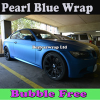 Wholesale Matte Pearl Wrap - Pearl Blue Matt Vinyl Car Wrap Film With Air Bubble Free Vehicle Wrap Vinyl Sticker Pearl Blue Matte Car Wrap Sticker Free Shipping 1.52x30M