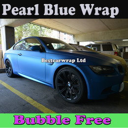 Wholesale Matte Blue Vinyl Car Wrap - Pearl Blue Matt Vinyl Car Wrap Film With Air Bubble Free Vehicle Wrap Vinyl Sticker Pearl Blue Matte Car Wrap Sticker Free Shipping 1.52x30M