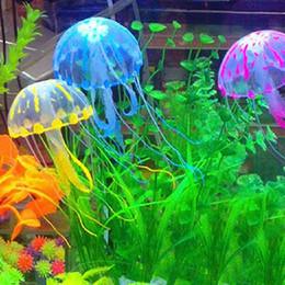 garden tanks 2019 - Glowing Effect Vivid Jellyfish for Aquarium Fish Tank Garden Pool Ornament Decor cheap garden tanks