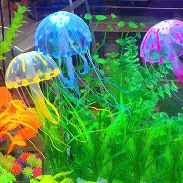 top popular Glowing Effect Vivid Jellyfish for Aquarium Fish Tank Garden Pool Ornament Decor 2021
