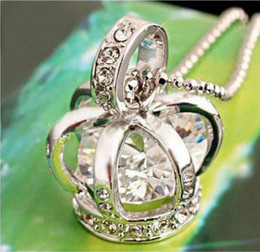 Wholesale Silver Crown Pendant Rhinestones - New fashion 12pcs lot silver bird cage costume crown pendant necklace with crystal zircon elegant high quality Crystal necklace XL24
