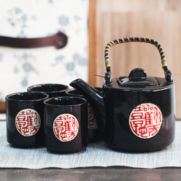 Wholesale Chinese Tea Set Bamboo - Home Handmade 5 Pieces Ceramic Japanese Tea Set Black with Handpainted Chinese Calligraphy Bamboo Handle Vintage Asian Gifts