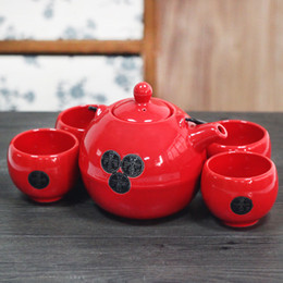 Wholesale Handmade Happiness Gift - Home Handmade 5 Pieces Ceramic Japanese Tea Set Red with Handpainted Chinese Double Happiness Iron Handle Vintage Asian Gifts