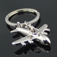 flugzeug ring silber großhandel-10 teile / los Zivilflugzeug Schlüsselbund Mode Poliert Silber Flugzeug Modell Metall Schlüsselanhänger Ring Schlüsselanhänger 86091