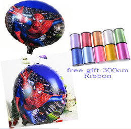 Wholesale Multicolor Ribbon - 9%off,in stock!Free ribbon! 18 inches Spiderman balloon! Foil balloons! Space Balloon! Balloon!drop shipping,hot sale,on sale,30pcs lot,GX