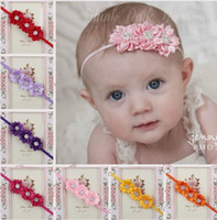Wholesale white baptism headbands for sale - Group buy 14 Color Ribbon Flowers Baby Girls Flowers Headbands Baptism Headband Christening Headband Kids Hair Accessories I1674