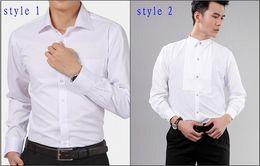 New Style Coton Hommes Blancs De Mariage / De Bal / Dîner Groom Chemises Porter Un Époux Homme Chemise (37--46) D52