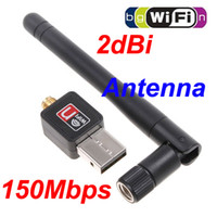 Wholesale Wireless Lan Wifi Usb Adapter - Mini 150M(150Mbps) USB WiFi Wireless Network Card 802.11 n g b LAN Adapter with Antenna C1289