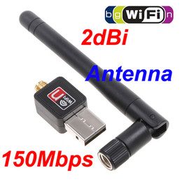 Wholesale External Lan Card - Mini 150M(150Mbps) USB WiFi Wireless Network Card 802.11 n g b LAN Adapter with Antenna C1289