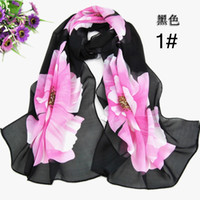 Wholesale Cheap Georgette Shawls - 2015 Scarfs for Women Cheap Hot Selling Women Chiffon Scarfs Shawls Sarongs Elegant Floral Printed Scarves Chinoiserie Wraps Mix Colors