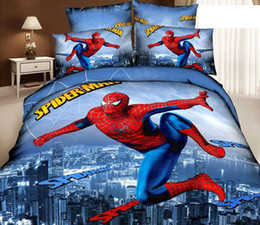 Wholesale Spiderman Queen Comforter - 3D Spiderman Kids cartoon bedding comforter sets bedroom bedsheet children queen size bedspread bed in a bag sheet linen quilts duvet cover