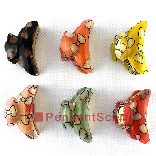 12PCS/LOT Fashion Hairpin Jewelry 6 Colors Mixed Bow Tie Design Hair Clip Acrylic Hair Claw Accessories, Free Shipping, JW0003