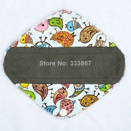 "Wholesale Minky Bamboo - 1 Panty Liner 8"" Reusable Washable Charcoal Bamboo Cloth Pad, Menstrual Sanitary Maternity Mama Pads, Minky Birds"
