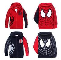 Wholesale Hooded Spiderman - Wholesale 2014 Children Hoodies Spiderman Zipper Terry Long Sleeve Sport Sweatshirts 11857