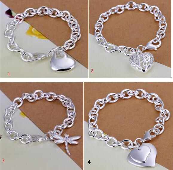Mix 4 Style 925 Silver Links Chain Fit Hollow Cuore Double Heart Dragonfly Pendant Charm Bracciali Gioielli Bracciali da donna Regalo 1013