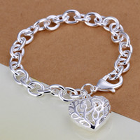 Wholesale Cheap Heart Chain Bracelet - Free Shipping with tracking number Top Sale 925 Silver Bracelet Europe Stereo hearts Bracelet Silver Jewelry 20Pcs lot cheap 1774