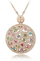 Wholesale Vintage Austrian Crystal Necklace - Austrian Crystal Vintage Necklaces Pendants Rose Gold Plated Fashion Jewelry 2014 Necklaces Women 3541