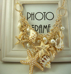 Wholesale Double Star Necklace - Korean choker of the lovely pearl sea shell double star sweater chain necklace gold ladies statement necklace fresh ocean beach
