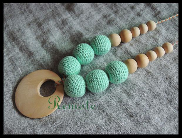 Teal color crochet beads Organic Teething necklace with wooden beads, Breastfeeding accessory, Nursing mom necklace NW1797