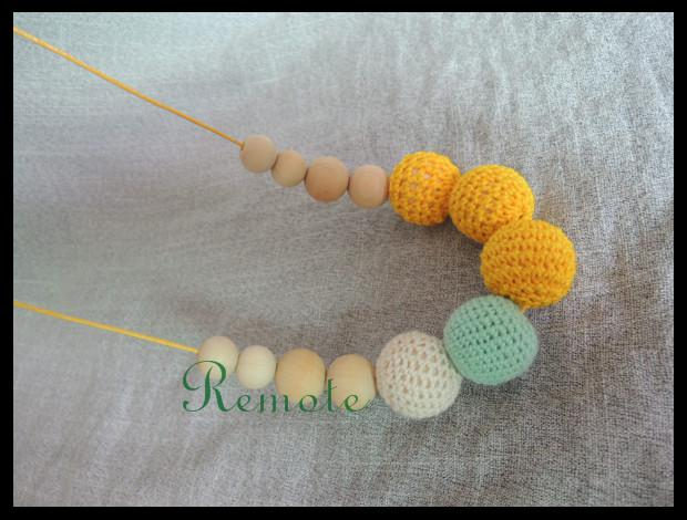 Hot sale Yellow & Teal Crochet wooden beads Nursing necklace - chewing beads - Breastfeeding Babywering necklace - Teething toy NW1799