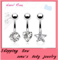 Wholesale Mixed Jewlry - Lovely heart mix three styles CF029 Navel Ring mix 3 style 24pcs lot clear zircon belly ring body piercing jewlry 14Guage