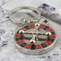 Wholesale Russian Gold Chains - New Arrival Russian Roulette Keychain Fashion Creative Spinning Casino Props Keyring Key Chain Ring Keyfob 86040