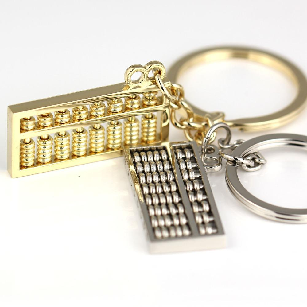Mini Abacus Keychain Creative Chinese Elements 8 Rows Rotatable Beads 3.5cm Width Key Chain Ring Key Fob Keyring 84616
