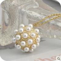 ingrosso collana di goccia della sfera dell'oro-Min. ordine $ 10 + Gift (può mescolare l'ordine)! Water Drop oro d'avanguardia del pendente della sfera della collana di perle naturali .Per Christams Uomini NL079