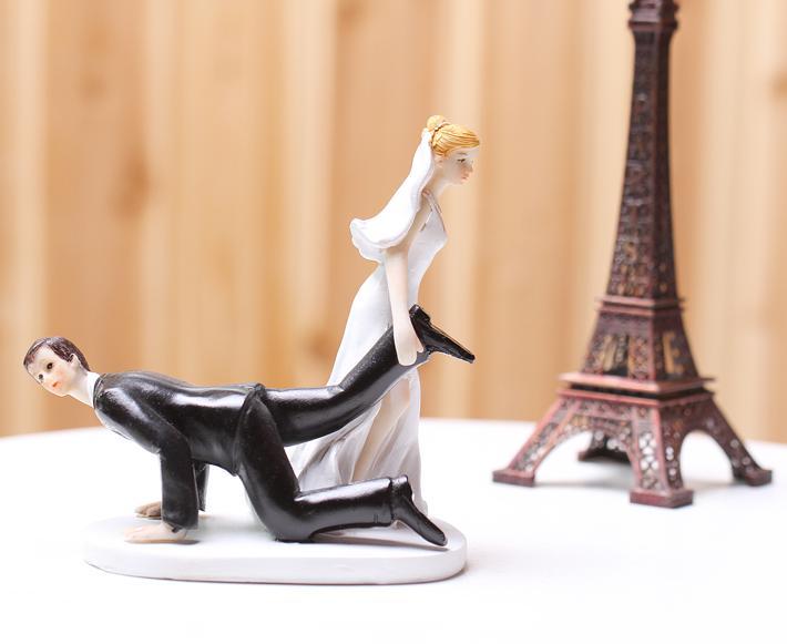 Bride Dragging Groom Comical Couple Figurine For Wedding Resin Cake ...