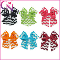 "Wholesale Chevron Hair Bows Wholesale - 5"" Chevron Cheer Bow Grosgrain Ribbon Cheer bows Ponytail Holder With Alligator Clips Kids Hair Accessories 30Pcs lot"