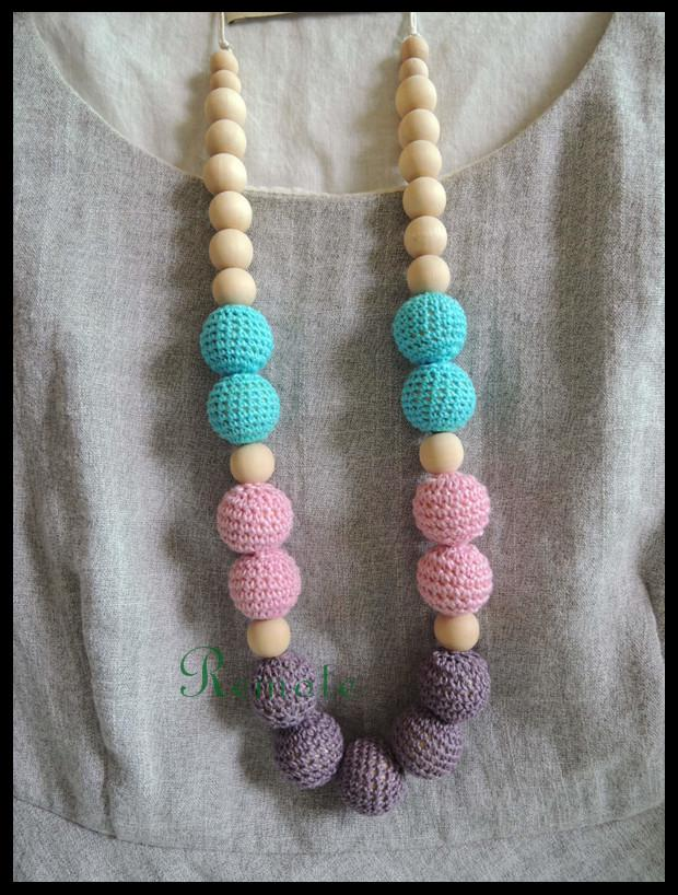 Chunky Teething necklace Turquoise pink grey crochet beads wooden Crochet Nursing teether baby toy funky safe child NW1806