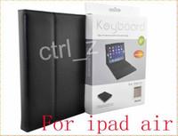 ipad deri perakende paketi toptan satış-4 renkler Kablosuz Bluetooth Klavye Deri Kılıf Kapak Standı Perakende Paketi ile ipad Hava ipad 5 için Silikon Klavye