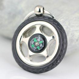 Wholesale Tire Key Ring - 10pcs Lot Creative Rubber Wheel Tyre Tire Compass Keychain Key Chain Ring Keyring Keyfob 86088 Free Shipping