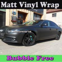 Wholesale Car Wrapping Matt - Premium Matte black vinyl Wrap Air Bubble Free Matt Film Wrapping Stickers Matt Car Wrap Foile Sheets 1.52x30m Roll Free Shipping