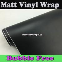 Wholesale Car Vinyl Film Wrapping - Premium Satin Matt Black Vinyl Wrap With Air Bubble Free Car Wrap Film Matte black Wrapping Film Vehicle Wraps Size 1.52x30m Roll