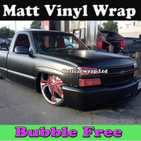 Wholesale car wrap bubble free black - Black Matte Vinyl Car wrapping Film with Air Bubble Free Matt Black Film Car Stickers Wrapping Size: 1.52*30m Roll Fedex Free Shipping